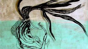 Houtskool op geschilderd papier ´Clivia´ 1.80 m. x 2.20 m