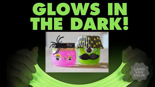 Glitter- of Glow-in-the-Dark-slijm maken Bij van Jansen